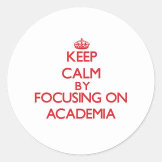 Keep Calm by focusing on Academia Round Sticker