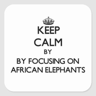 Keep calm by focusing on African Elephants Square Sticker