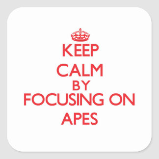 Keep Calm by focusing on Apes Square Sticker