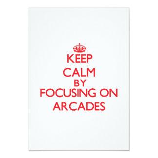 Keep Calm by focusing on Arcades 3.5x5 Paper Invitation Card