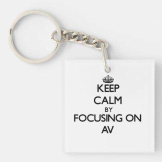 Keep Calm by focusing on Av Acrylic Keychains