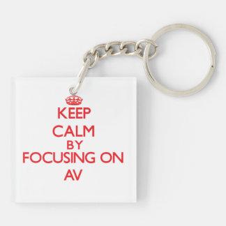 Keep Calm by focusing on Av Acrylic Key Chain