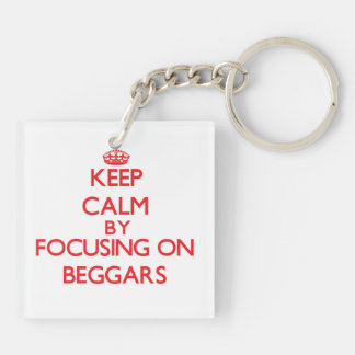 Keep Calm by focusing on Beggars Double-Sided Square Acrylic Key Ring