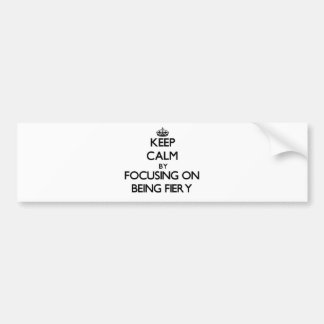 Keep Calm by focusing on Being Fiery Bumper Stickers
