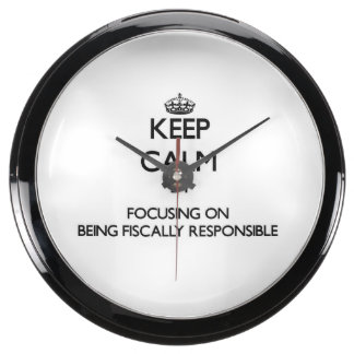 Keep Calm by focusing on Being Fiscally Responsibl Fish Tank Clocks