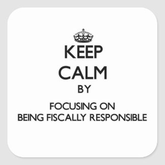 Keep Calm by focusing on Being Fiscally Responsibl Square Stickers