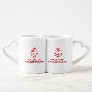 Keep Calm by focusing on Being Indestructible Couples Mug