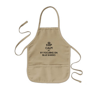 Keep calm by focusing on Blue Sharks Kids Apron