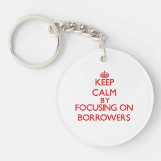 Keep Calm by focusing on Borrowers Single-Sided Round Acrylic Key Ring