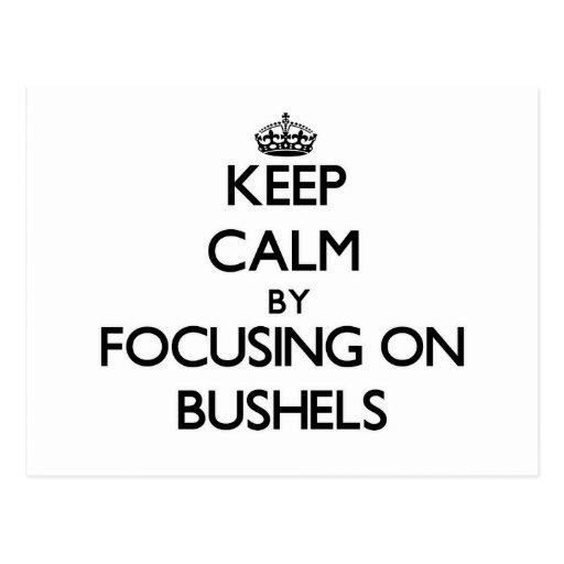 Keep Calm by focusing on Bushels Postcard