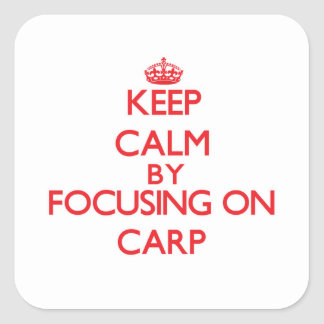 Keep Calm by focusing on Carp Square Sticker