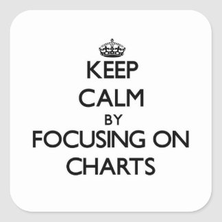 Keep Calm by focusing on Charts Square Stickers