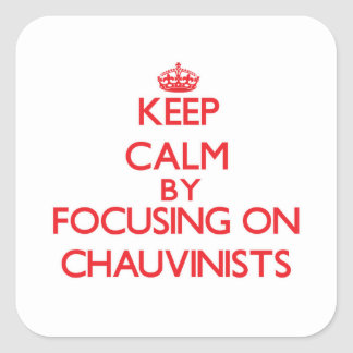 Keep Calm by focusing on Chauvinists Square Sticker