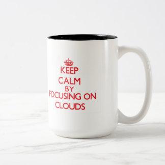 Keep Calm by focusing on Clouds Two-Tone Mug