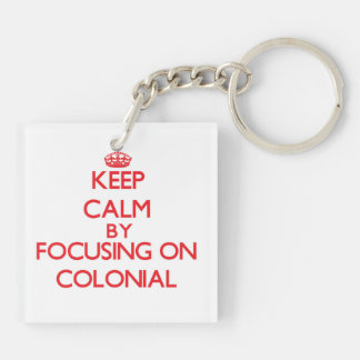 Keep Calm by focusing on Colonial Square Acrylic Key Chains