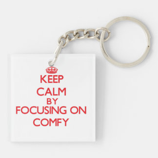Keep Calm by focusing on Comfy Double-Sided Square Acrylic Key Ring