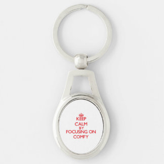 Keep Calm by focusing on Comfy Silver-Colored Oval Metal Keychain
