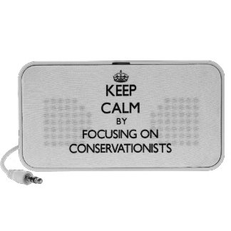 Keep Calm by focusing on Conservationists iPod Speaker
