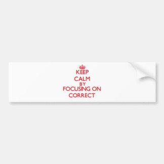 Keep Calm by focusing on Correct Bumper Sticker