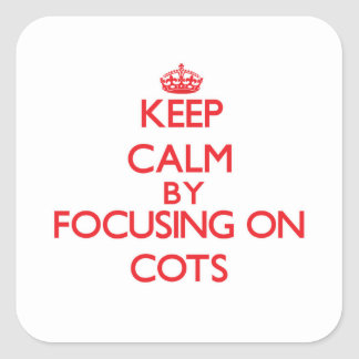Keep Calm by focusing on Cots Square Stickers