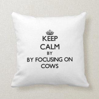 Keep calm by focusing on Cows Cushion