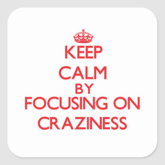 Keep Calm by focusing on Craziness Square Sticker