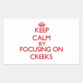 Keep Calm by focusing on Creeks Rectangular Sticker