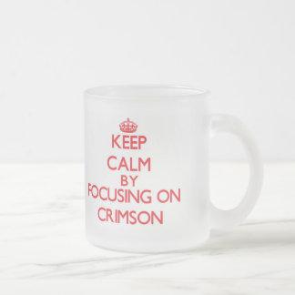 Keep Calm by focusing on Crimson 10 Oz Frosted Glass Coffee Mug