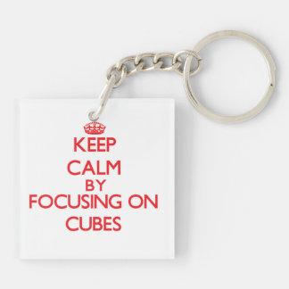 Keep Calm by focusing on Cubes Acrylic Keychain