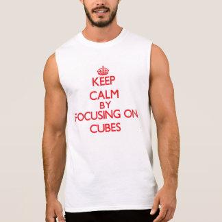 Keep Calm by focusing on Cubes Sleeveless Tee