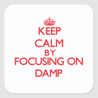 Keep Calm by focusing on Damp Square Stickers