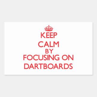 Keep Calm by focusing on Dartboards Rectangular Sticker