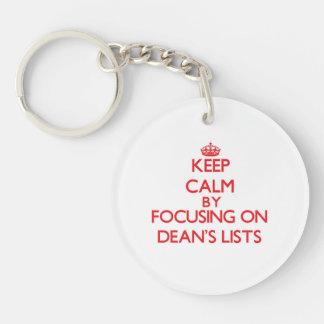 Keep Calm by focusing on Dean s Lists Acrylic Key Chain