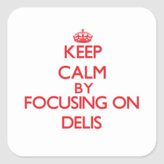 Keep Calm by focusing on Delis Square Sticker