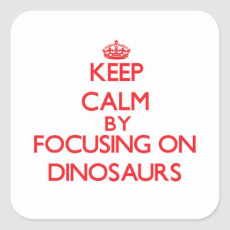 Keep Calm by focusing on Dinosaurs Square Stickers