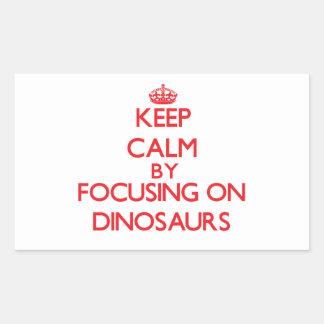 Keep Calm by focusing on Dinosaurs Rectangular Sticker