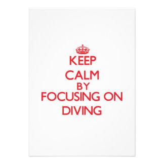Keep Calm by focusing on Diving Custom Invitation