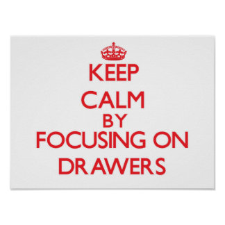 Keep Calm by focusing on Drawers Print