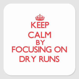 Keep Calm by focusing on Dry Runs Square Stickers