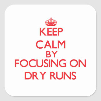 Keep Calm by focusing on Dry Runs Stickers