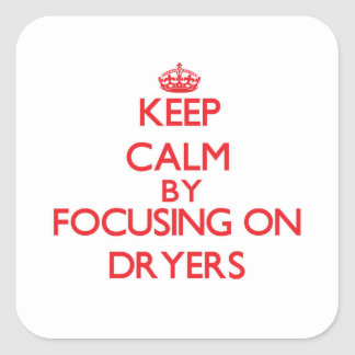 Keep Calm by focusing on Dryers Square Sticker
