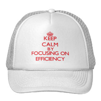 Keep Calm by focusing on EFFICIENCY Hats