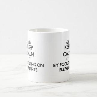 Keep calm by focusing on Elephants Basic White Mug