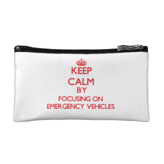Keep Calm by focusing on EMERGENCY VEHICLES Makeup Bag