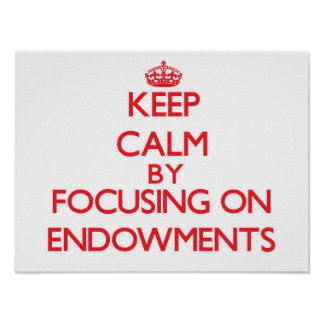 Keep Calm by focusing on ENDOWMENTS Poster