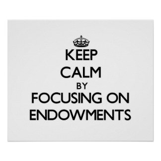 Keep Calm by focusing on ENDOWMENTS Posters