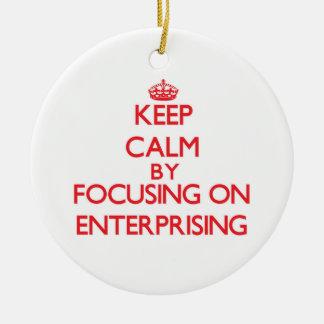 Keep Calm by focusing on ENTERPRISING Christmas Ornament