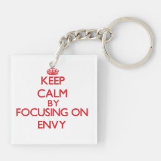 Keep Calm by focusing on ENVY Double-Sided Square Acrylic Key Ring
