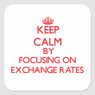 Keep Calm by focusing on EXCHANGE RATES Square Sticker
