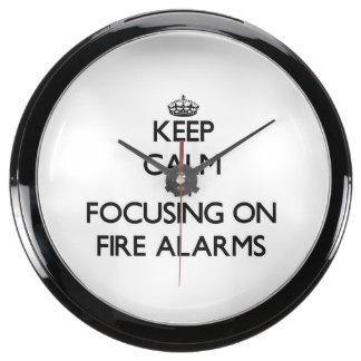 Keep Calm by focusing on Fire Alarms Aqua Clock